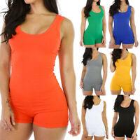 Short Romper Jumpsuit Leotard Sleeveless Top Women Stretch Blouse Slim Bodysuit.