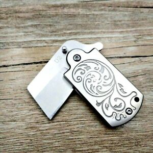 Mini Wharncliffe Folding Knife Pocket Flipper Hunting Survival Tactical D2 Steel