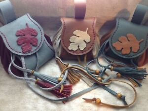 Handmade Medieval Fantasy Costume LARP Real Leather Belt Pouch, Medicine Bags.