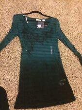 NWT Miss Me Buckle BKE Sequin/Ombre Top Teal/Green Size LARGE
