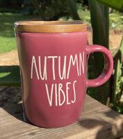 Rae Dunn Thanksgiving Fall Magenta AUTUMN VIBES Burgundy Mug Wooden Lid Coaster