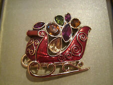 Jewels~Boxed Holiday Christmas Pin Jones New York~Gold~Red Sleigh~Multi Colored