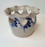 Eldreth Pottery Open Heart Crocus Bulb Ruffled Top Blue Salt Glaze Planter Pot