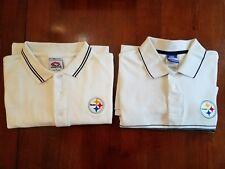 Lot of 2 Pittsburgh Steelers White Polo Shirts Size Large EUC Sharp!!!