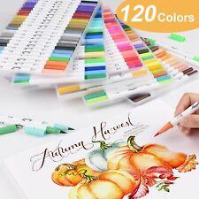 24 72 120 Colour Watercolour Pen Drawing Artist Journaling Sketch Brush Twin Tip