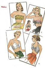 Vintage 1940's Sewing Pattern Set of Bra Tops WWII Pin-UP Rockabilly Bust 34-36
