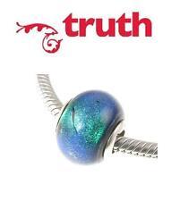 Genuine TRUTH PK 925 sterling silver IRIDESCENT DARK murano glass charm bead
