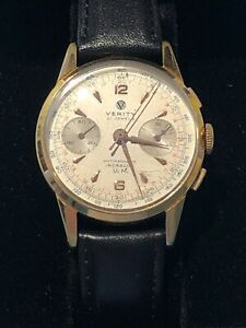 GENTS VINTAGE EXTREMELY RARE VERITY CAL LANDERON 248 21  JEWEL CHRONOGRAPH WATCH