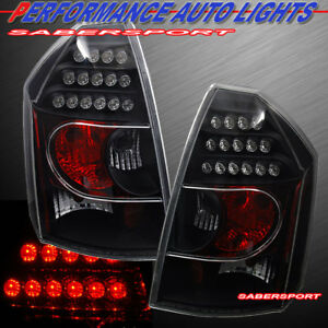 Set of Pair Black LED Taillights for 2005-2007 Chrysler 300C / SRT-8
