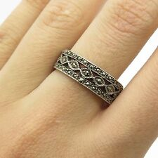 Vtg 925 Sterling Silver Real Marcasite Gemstone Band Ring Size 8 1/4