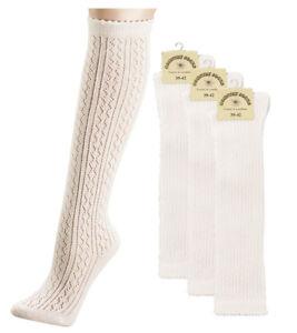 Trachtensocken Damen Socken Trachten Kniestrümpfe Strümpfe 35-38 Häkellook Neu