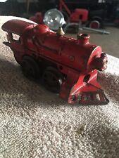 Vtg Antique Metal RR Toy Train Engine-Red-Tin Metal Key Wind-Up—Free Coal Car!