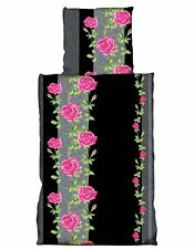 4tlg Flausch Bettwäsche 135x200cm Blume pink Microfaser Thermofleece 2Garnituren