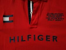 TOMMY HILFIGER 2010 Sailing Team Embroidered Spell Out Red Polo T-Shirt Sz XL