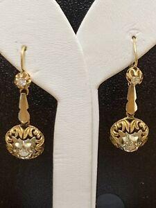 Vintage Italian 18k Gold Diamond Faceted Drop Dangle Earrings 7.6 Gr E1875