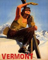 POSTER WINTER SPORT SUN VERMONT SKI MOUNTAINS GIRL SKIING VINTAGE REPRO FREE S/H