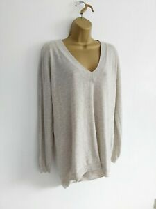 Fatface Size 14 Grey V.Neck Tunic Jumper 65% Wool 8% Cashmere