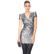 ICONIC 8 FRENCH CONNECTION SAMANTHA SILVER SEQUIN PARTY COCKTAIL DRESS XMAS