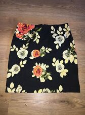 Black Flower High Waisted Skirt Bodycon Size S 6/8 Motel Topshop Concess Zip Up