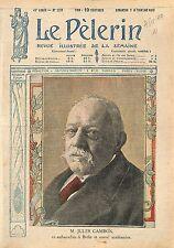 Portrait Jules Cambon Ambassadeur Académicien Paris Académie 1919 ILLUSTRATION