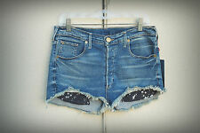 NWT TRUE RELIGION SCOUT BF MULLET 28 Exposed Star Pockets High Rise Denim Short