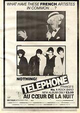4/7/1981Pg23 Album Advert 15x10 Telephone, Au Coeur De La Nuit (with Iggy Pop)