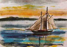 ORIGINAL ACEO  SAILING SEA   Landscape  painting JMW art John Williams ATC