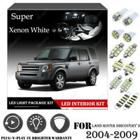 13PCS For Land Rover DISCOVERY 3 04-09 White Car Interior LED Light Package Kit