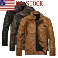 US Men's Leather Biker Motorcycle Jacket Stand Collar Pu Jacket Outwear Coat EM