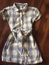 girls GYMBOREE PLAID DRESS school GRAY YELLOW flannel COLLARED S/S belt SIZE 6