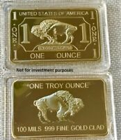 BUFFALO BAR .999 Gold Clad American Buffalo Art Bar 100m /1 TROYoz UN-CIRCULATE