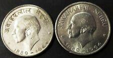 India 50 paise 1964 Jawaharlal Nehru two UNC coins:, English & Hindi Legend.