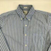 J.Crew Tailored Fit Mens Button Down Shirt Size Medium M Blue Stripe Long Sleeve
