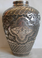 HEAVY PERSIAN ISFAHAN  84 SILVER  HAND CHASED VASE - 515 grams- BIRDS & ANIMALS
