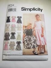 Simplicity 8754, VTG 1993, CHILDS, GIRLS DRESS, SIZE 7-12 PREOWNED UNCUT