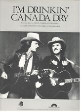 "THE BURRITO BROTHERS ""I'M DRINKIN' CANADA DRY"" SHEET MUSIC-1981-RARE-NEW-MINT!!"