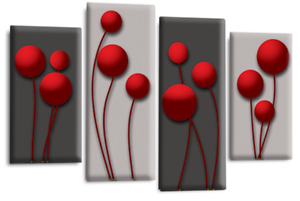 Le Reve Abstract Floral Love Art Red Grey Black Wall Canvas Print Split 4 Panels