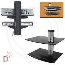 Glass TV LCD LED Wall Mount Bracket 2 Shelves Shelf For DVD Sky Box