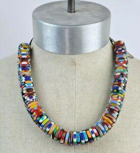 Sobral Magazine Estampa Round Rainbow Striped Beads Day Necklace Brazil Import