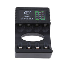 4 Slots LED Battery Charger for AA AAA Rechargeable NIMH NiCd Battery Black