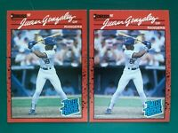 (2) 1990 Donruss JUAN GONZALEZ Baseball Reverse Negative Error & Corrected Cards