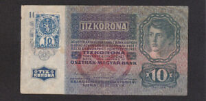 10 KORUN FINE PROVISIONAL BANKNOTE FROM CZECHOSLOVAKIA 1919 PICK-1a