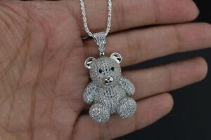 14K White Plated Hip Hop Mini Silver 925 Teddy Bear ICED Bling Pendant w/ Chain