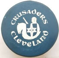 1972-75 BLUE VINTAGE CLEVELAND CRUSADERS WHA  OLD GAME PUCK stamped CANADA