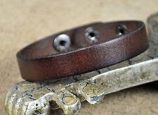 JS93 Surfer Classic Single Wrap Genuine Leather Bracelet Wristband Unisex BROWN