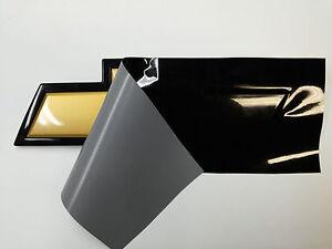 2X Silverado Flat Black Universal Chevy Bowtie Vinyl Sheets Emblem Gloss