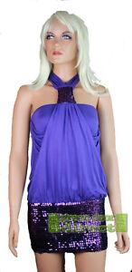 Gossip Halterneck Purple Sequin Party Dress Large 14  Fast Free UK Shipping BNWT
