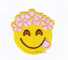 Smile Face Flower Cute Embroidered Iron On Badge Patch Applique Jean Hat Bag DIY