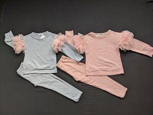 Girls teenagers loungewear frilled sleeves 2 piece suit set tracksuit  grey,pink