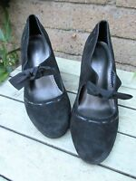 Marks & Spencer Insolia Black Suede Shoes With Bow Detail Wider Fit Size 5